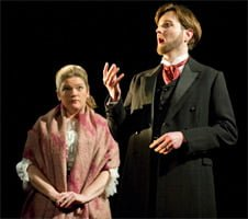 Sarah-Jane Davies (Tatyana), Nicholas Lester (Eugene Onegin). English Touring Opera, Eugene Onegin. Photograph: Richard Hubert Smith