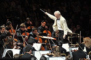 John Adams conducts the Julliard Orchestra and the Orchestra of the Royal Academy of Music at the BBC Proms 2012. Photograph: BBC/Chris Christodoulou