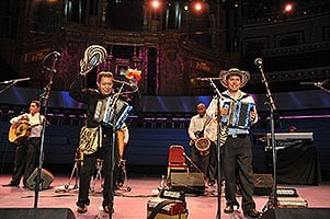 (L-R) Egidio Cuadrado and José Hernando Arias Noguera perform at the BBC Radio 3 World Routes Academy Prom at the Royal Albert Hall. Photograph: BBC/Chris Christodoulou