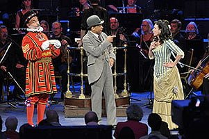 Mark Richardson (Sergeant Meryll), Tom Randle (Leonard Meryll) and Heather Shipp (Phoebe Meryll) perform in Gilbert & Sullivan's The Yeomen of the Guard at the BBC Proms. Photograph: BBC/Chris Christodoulou