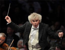 Sir Simon Rattle conducts the Berliner Philharmoniker at the BBC Proms 2012. Photograph: BBC/Chris Christodoulou