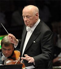 Bernard Haitink conducts the Vienna Philharmonic Orchestra at the BBC Proms. Photograph: BBC/Chris Christodoulou