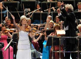 Nicola Benedetti performs with the BBC Symphony Orchestra at the Last Night of the Proms. Photograph: BBC/Chris Christodoulou