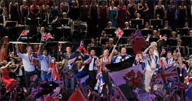 Members of Team GB and ParalympicsGB appear at the Last Night of the Proms. Photograph: BBC/Chris Christodoulou