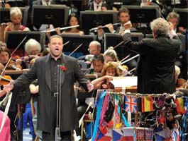 Joseph Calleja performs with the BBC Symphony Orchestra conducted by Jiří Bělohlávek at the Last Night of the Proms. Photograph: BBC/Chris Christodoulou