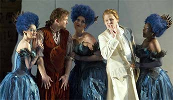 Duncan Rock as Papageno, Elizabeth Llewellyn, Catherine Young & Pamela Helen Stephen as Three Ladies, and Shawn Mathey as Tamino (The Magic Flute, ENO, September 2012). Photograph: Alastair Muir
