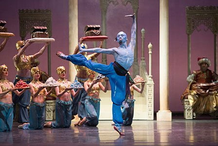 Tzu-Chao Chou as the Djinn of the Lamp with Artists of Birmingham Royal Ballet; photo: Bill Cooper