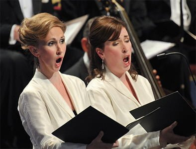 Hannah Morrison and Meg Bragle performs with the Monteverdi Choir and English Baroque Soloists at the BBC Proms. Photograph: BBC/Chris Christodoulou