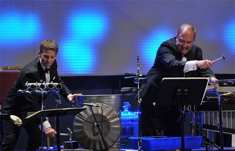 Percussionists from the John Wilson Orchestra performing Tom and Jerry at MGM at the BBC Proms. Photograph: BBC/Chris Christodoulou