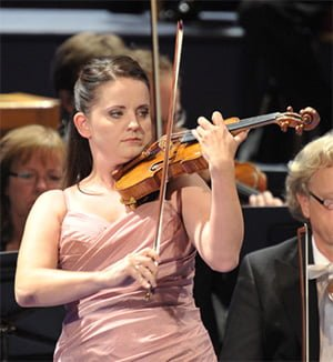 Baiba Skride performs with the Oslo Philharmonic Orchestra at the BBC Proms. Photograph: BBC/Chris Christodoulou
