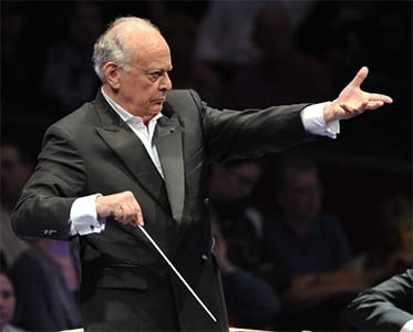 Lorin Maazel conducts the Vienna Philharmonic Orchestra at the BBC Proms. Photograph: BBC/Chris Christodoulou