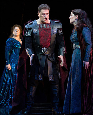 Sondra Radvanovsky in the title role, Aleksandrs Antonenko as Pollione, and Kate Aldrich as Adalgisa in Bellini's Norma (September 2013). Photograph: Marty Sohl/Metropolitan Opera