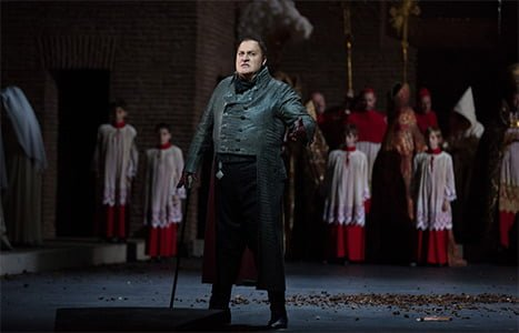George Gagnidze as Scarpia in a scene from Act I of Puccini's Tosca. Photograph: Marty Sohl/Metropolitan Opera