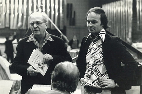 Michel Tabachnik (l) with Olivier Messiaen during a rehearsal of Exotic Birds. Photgoraph: Jean-Baptiste Millot