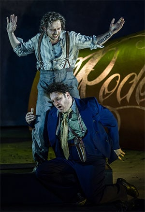 Iestyn Davies as Bertarido & John Mark Ainsley as Grimoaldo (Rodelinda, English National Opera). Photograph: Clive Barda