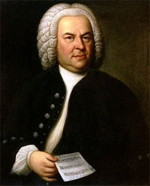 Johann Sebastian Bach (aged 61) in a portrait by Elias Gottlob Haussmann. Copy or second version of his 1746 canvas, private ownership of William H. Scheide, Princeton, New Jersey, USA