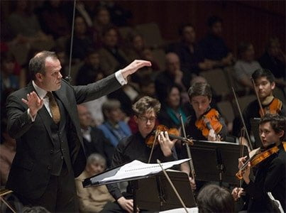 François-Xavier Roth conducts the National Youth Orchestra of Great Britain at Royal Festival Hall. Photograph: NYOGB