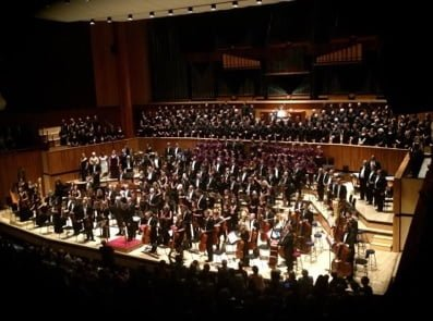 Esa-Pekka Salonen, Philharmonia Orchestra, soloists and choirs at the end of the performance of Mahler's Symphony No.8. Photograph: Philharmonia's Facebook page