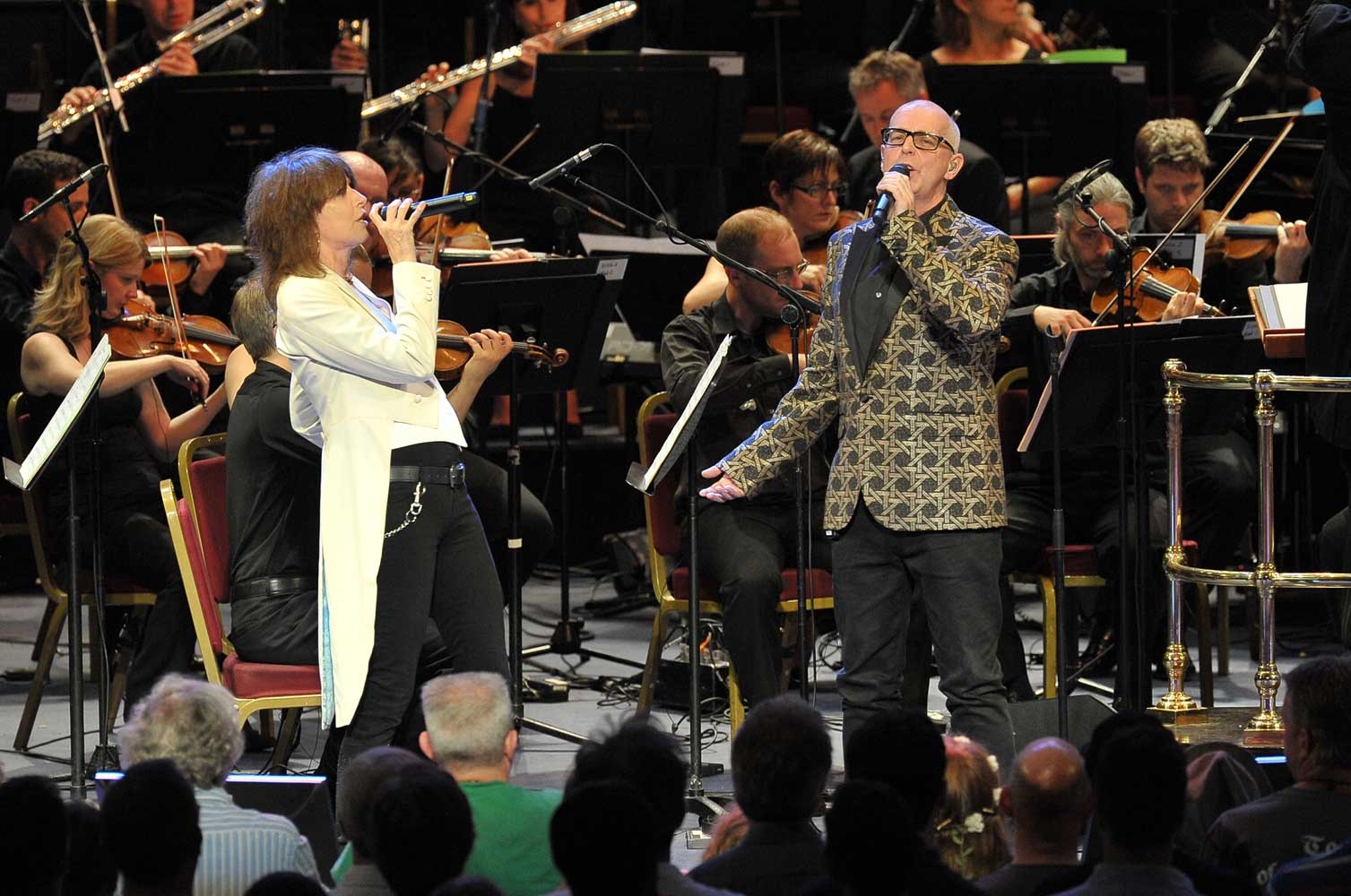 Chrissie Hynde and Neil Tennant perform with the BBC Concert Orchestra conducted by Dominic Wheeler at the BBC Proms 2014. Photograph: BBC/Chris Christodoulou