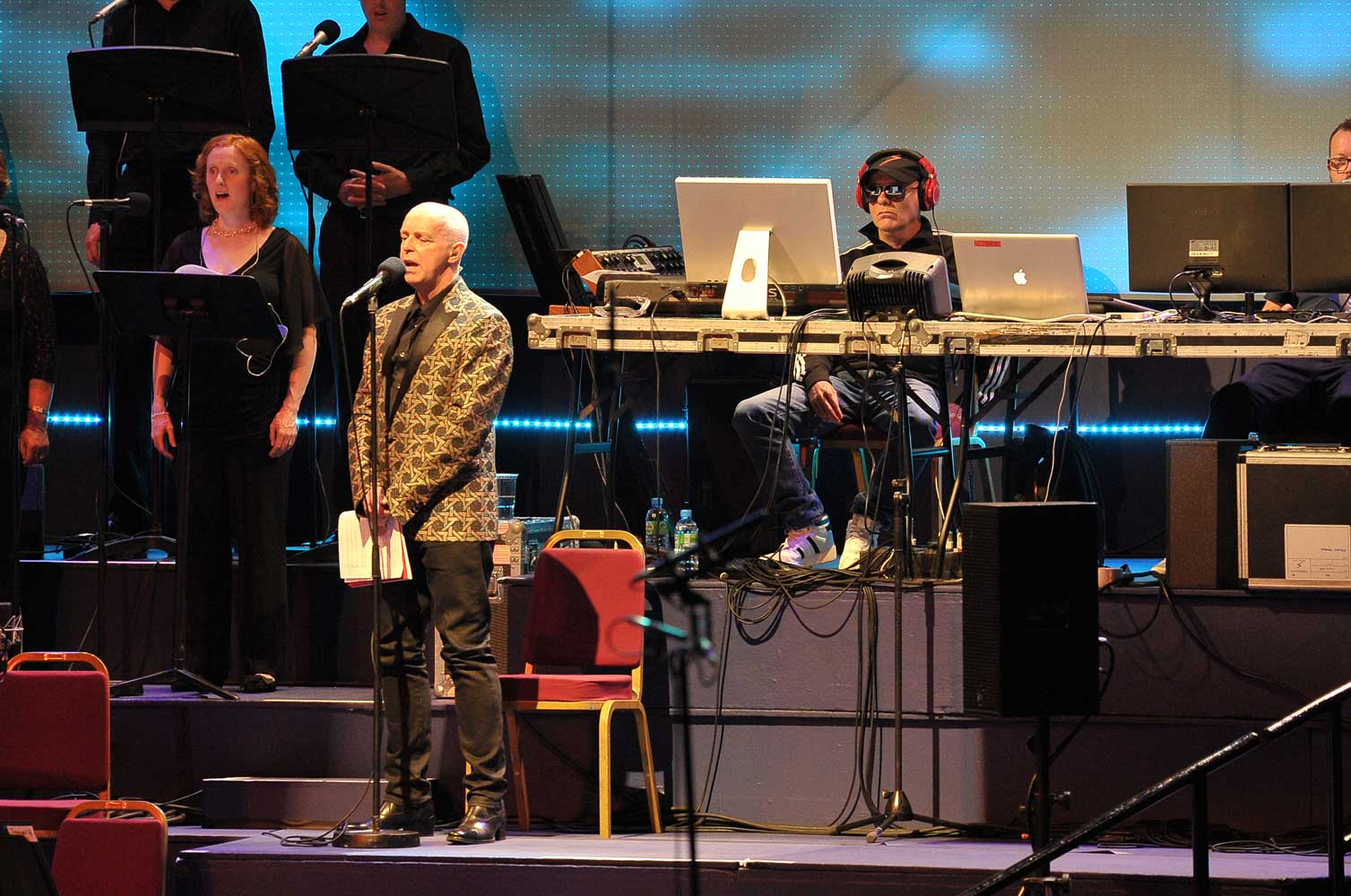 Chris Lowe and Neil Tennant perform the world premiere of A Man from the Future at the BBC Proms 2014. Photograph: BBC/Chris Christodoulou