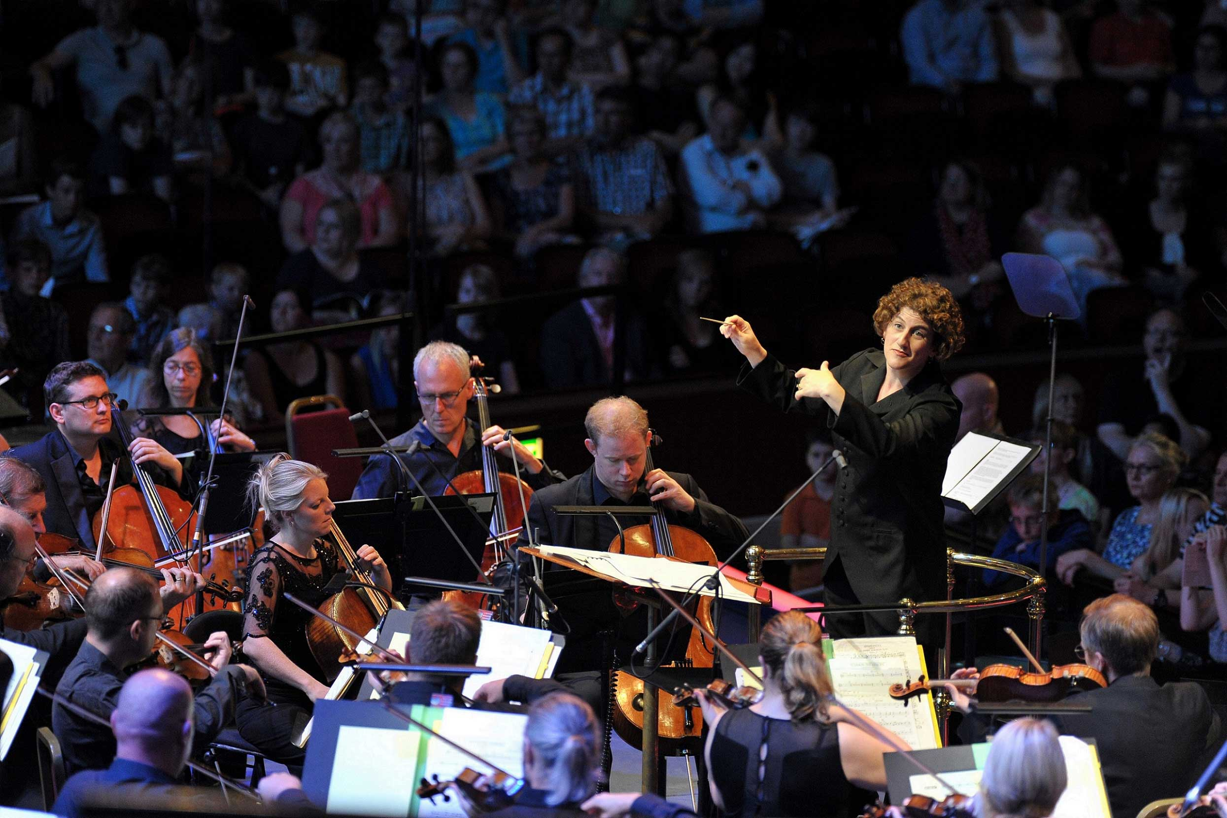 Rebecca Miller conducts the BBC Concert Orchestra and the Crouch End Festival Chorus at the first ever BBC Sport Prom. Photograph: BBC/Chris Christodoulou