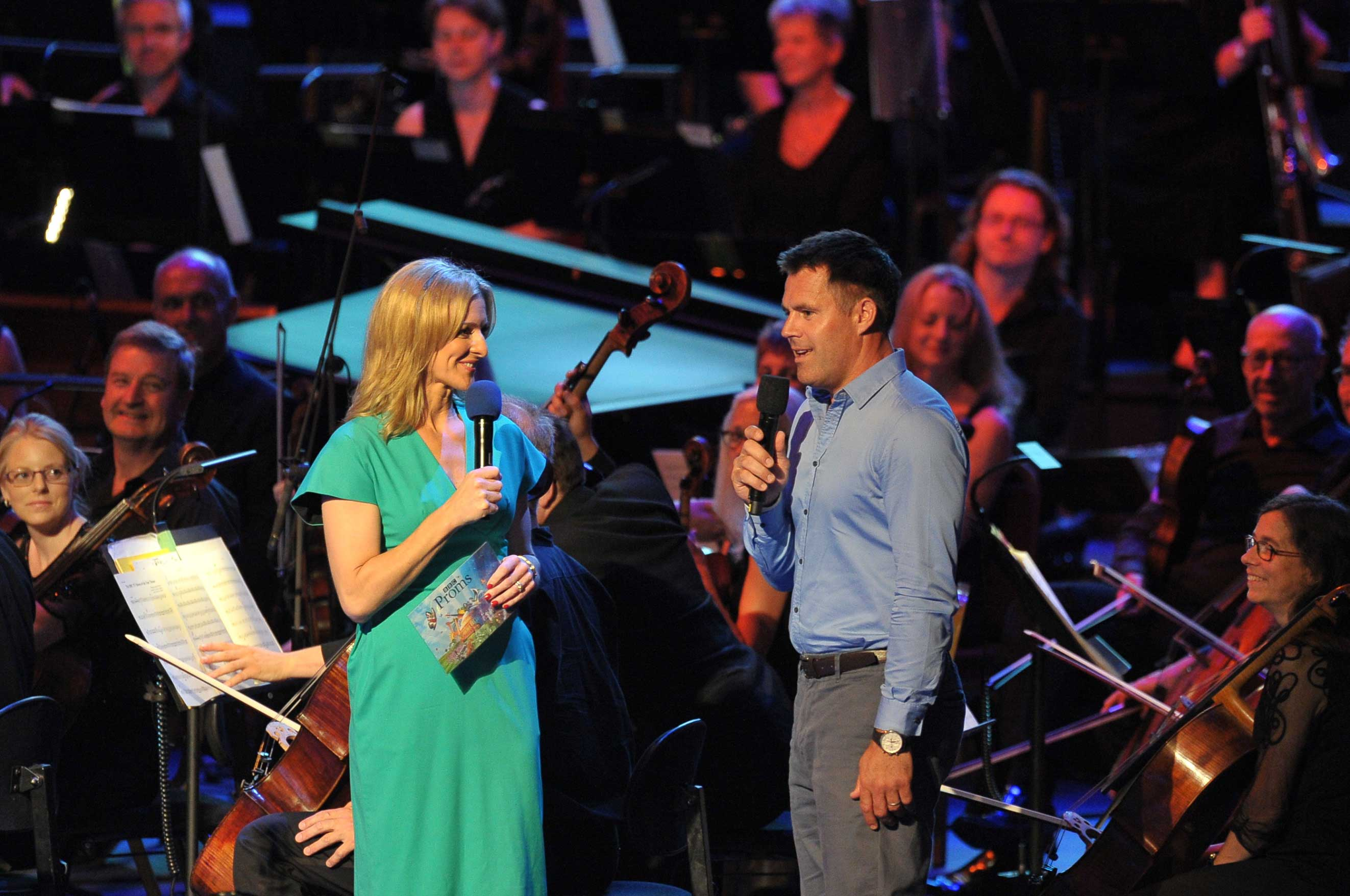 Presenter Gabby Logan and Scottish rugby union and former London Wasps wing, Kenny Logan, at the first ever BBC Sport Prom. Photograph: BBC/Chris Christodoulou