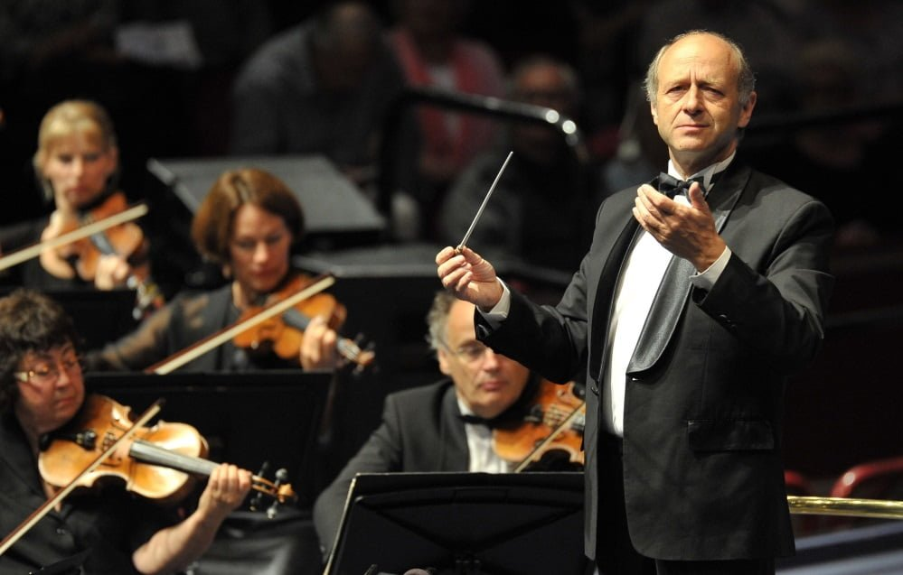 Iván Fischer conducts the Budapest Festival Orchestra at the BBC Proms 2014. Photograph: Chris Christodoulou