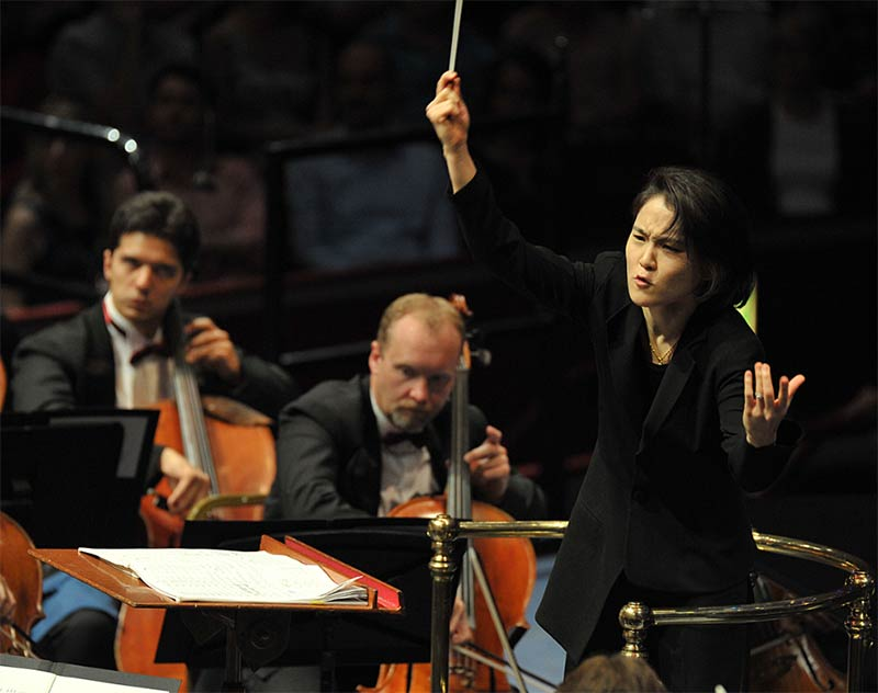 Han-Na Chang conducts the Qatar Philharmonic Orchestra in its debut at the BBC Proms 2014. Photograph: Chris Christodoulou