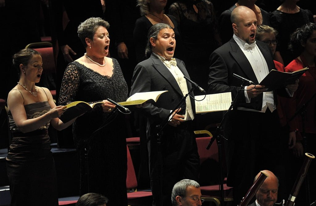 Soprano Christina Landshamer, mezzo-soprano Gerhild Romberger, tenor Steve Davislim, and bass Dmitry Belosselskiy in Beethoven's Symphony No. 9 in D Minor, 'Choral', at the BBC Proms 2014. Photograph: Chris Christodoulou