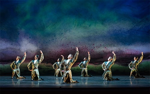 Mathias Dingman with Artists of Birmingham Royal Ballet dance Flowers of the Forest; photograph: Bill Cooper