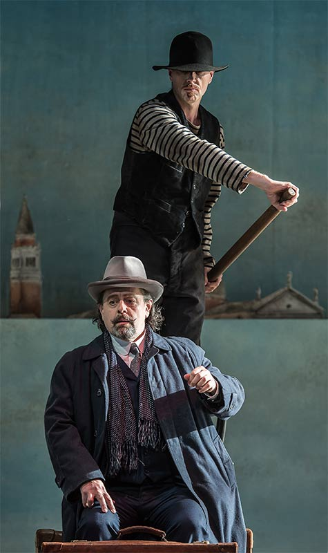 William Dazeley as Old Gondolier & Paul Nilon as Aschenbach Photograph: Clive Barda