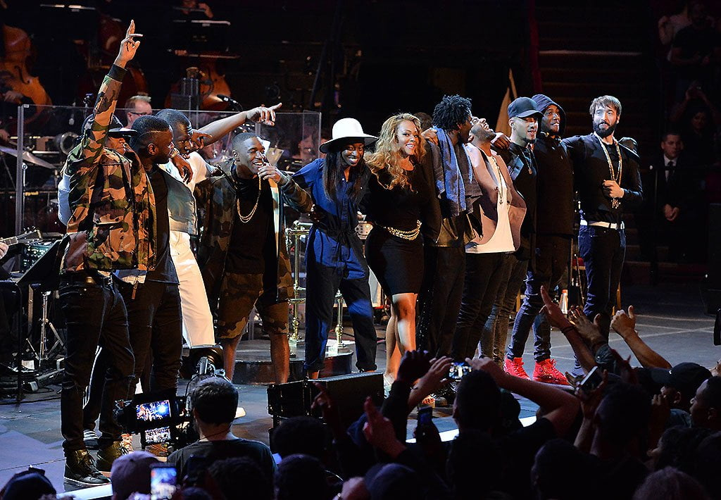 The full line-up takes a bow at the end of the Late Night BBC Prom with Radio 1Xtra on Wednesday 12 August, featuring Jules Buckley and the Metropole Orkest, at the Royal Albert Hall.    Photograph: BBC/Mark Allan