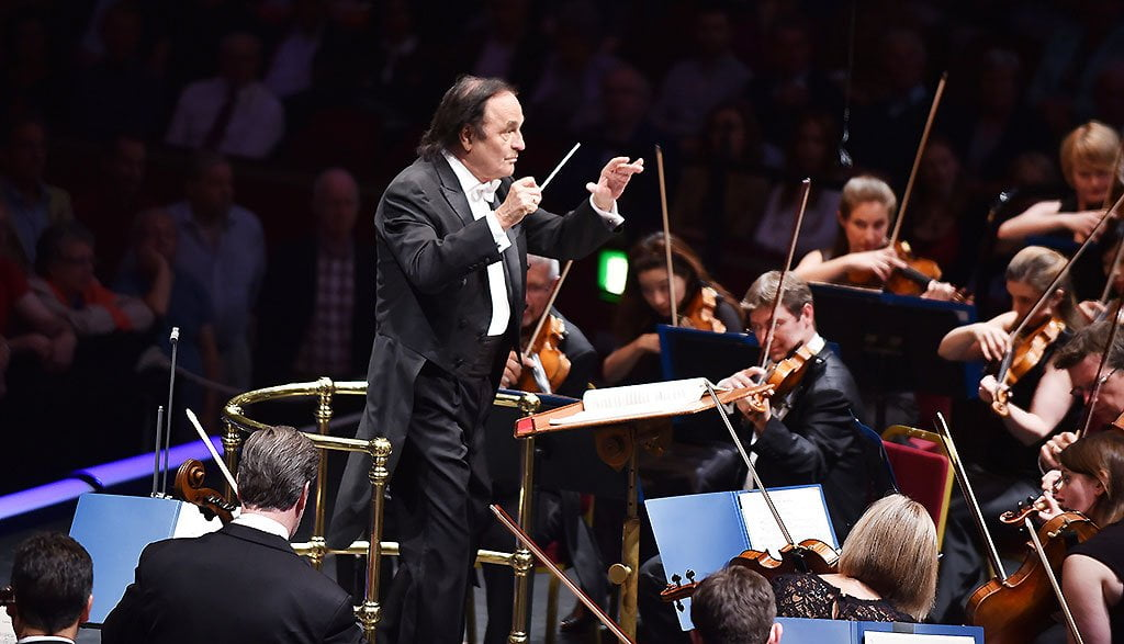 Charles Dutoit conducts the Royal Philharmonic Orchestra at the BBC Proms 2015.Photograph: BBC/Sarah Jeynes