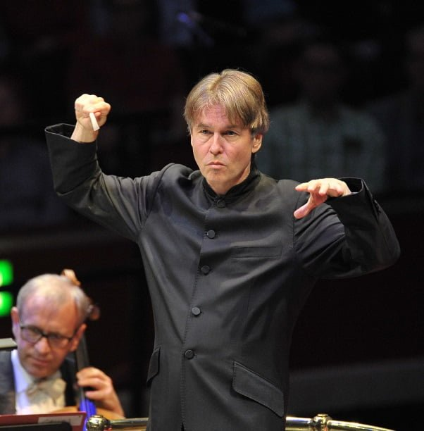 Esa-Pekka Salonen conducts Philharmonia Orchestra at the BBC Proms at the Royal Albert Hall on Monday 24 August Photograph: BBC/Chris Chriostodoulou