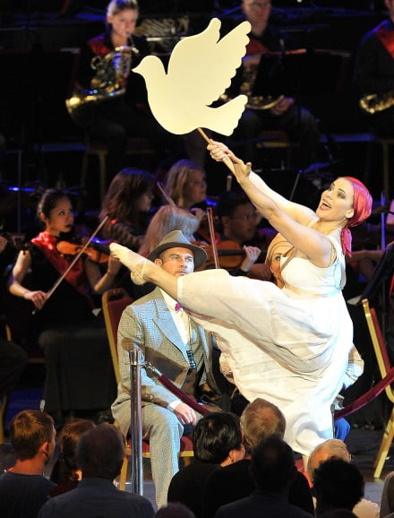 Rosie Kay performs as Nastya Terpsikhorova at the BBC Proms, at the Royal Albert Hall on Monday 24 August, with Philharmonia Orchestra conducted by Esa-Pekka Salonen Photograph: BBC/Chris Chriostodoulou