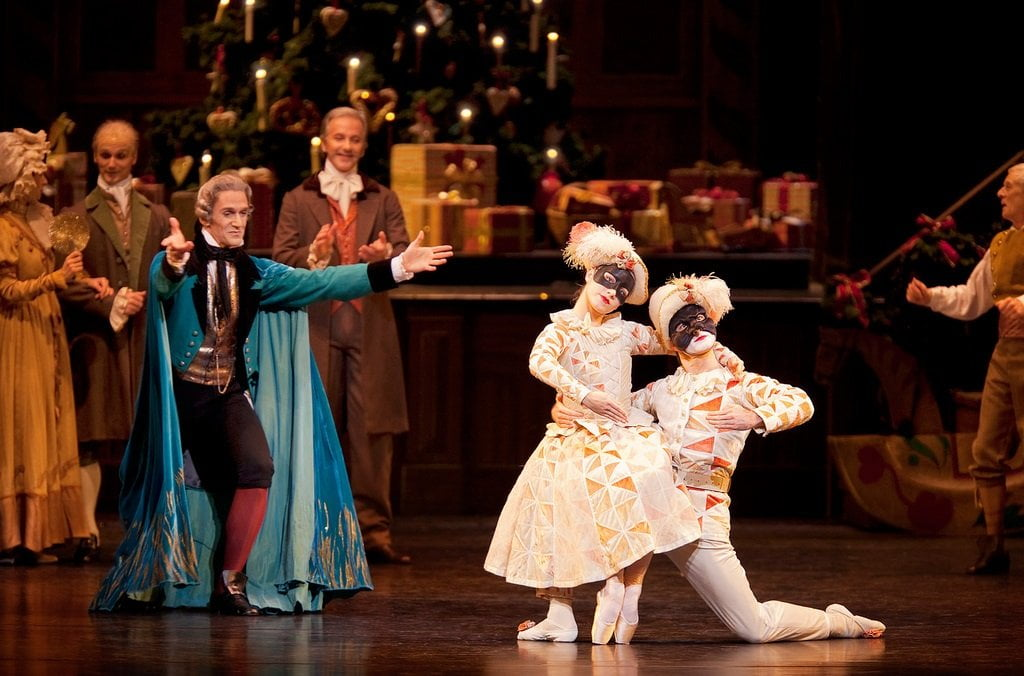 Gary Avis as Drosselmeyer and Brian Maloney and Bethany Keating as Dolls in The NutcrackerPhotograph: © 2010 ROH / Johan Persson