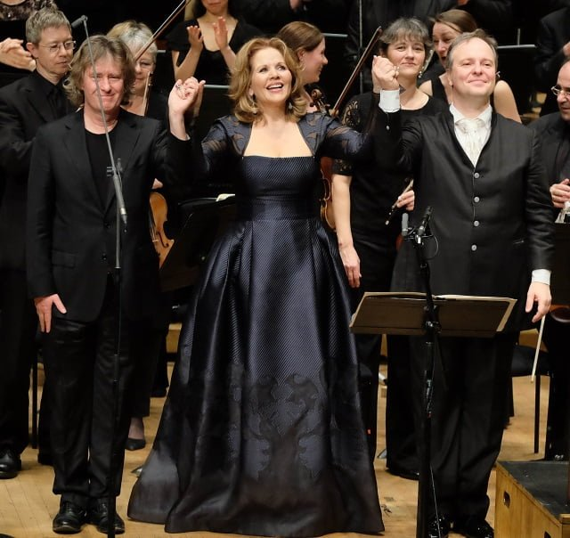 Composer Anders Hillborg, soprano Renée Fleming and conductor Sakari Oramo at the BarbicanPhotograph: Mark Allan/BBC