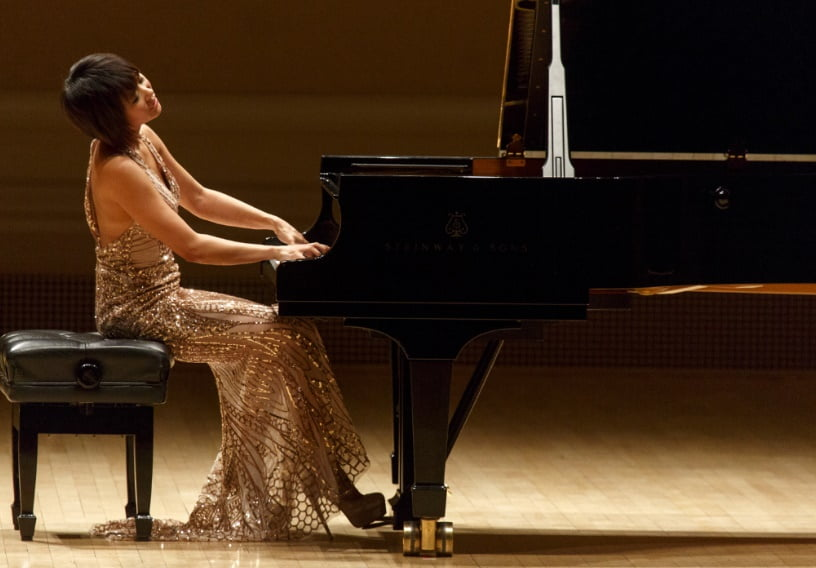 Yuja Wang on the Perelman Stage of the Stern Auditorium at Carnegie HallPhotograph: Richard Termine