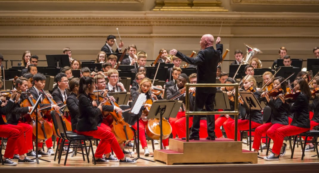 National Youth Orchestra of USA with Christoph Eschenbach on the Perelman Stage in the Stern Auditorium at Carnegie HallPhotograph: Chris Lee