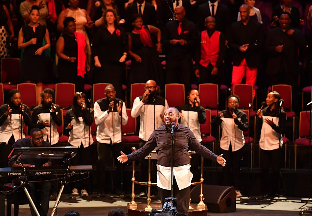 Volney Morgan & New-Ye performing at the Late Night Gospel Prom, at the 2016 BBC PromsPhotograph: BBC/Mark Allan