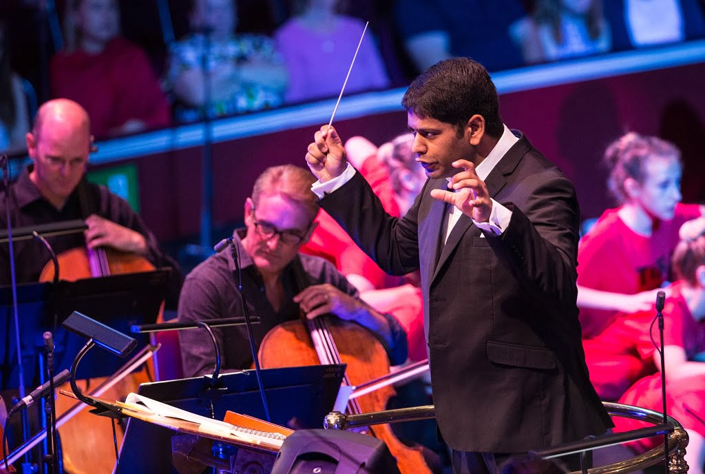 Alpesh Chauhan conducts the BBC Philharmonic at the Ten Pieces Prom Photograph: BBC/Guy Levy