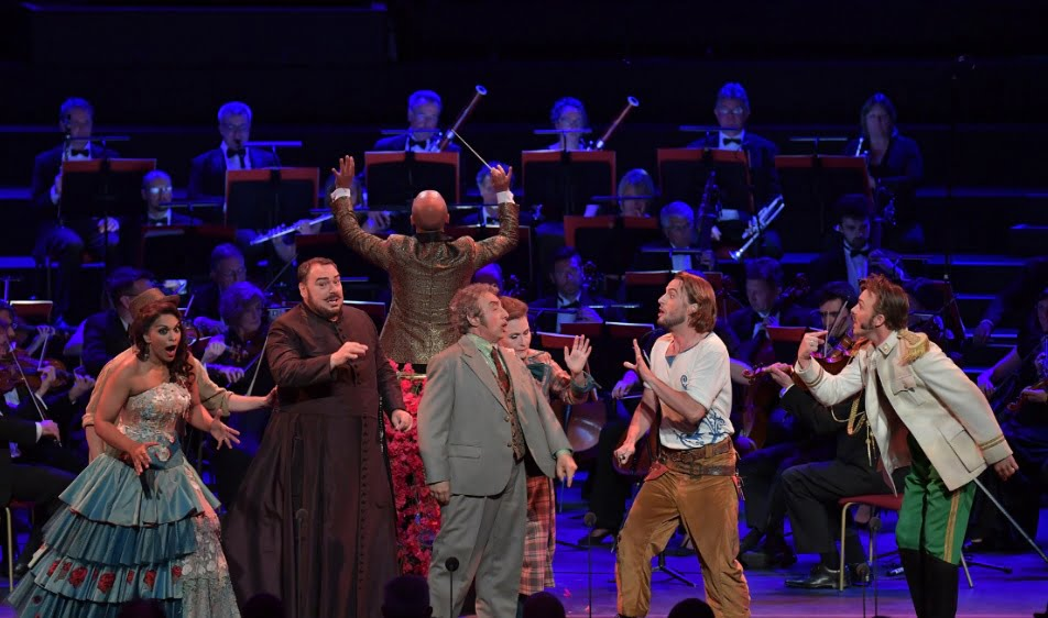 (L-R) Danielle de Niese as Rosina, Christophoros Stamboglis as Don Basilio, Alessandro Corbelli as Dr Bartolo, Björn Bürger as Figaro, Taylor Stayton as Count Almaviva conducted by Enrique Mazzola in Rossini's The Barber of Seville at the BBC Proms 2016Photograph: BBC/Chris Christodoulou