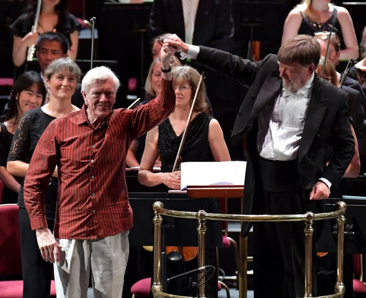 Composer Anthony Payne and conductor Sir Andrew Davis (L-R) take a bow following the world premiere of Anthony Payne's 'Of Land, Sea and Sky' at the BBC Proms on Tuesday 26 JPhotograph: BBC/Chris Christodoulou