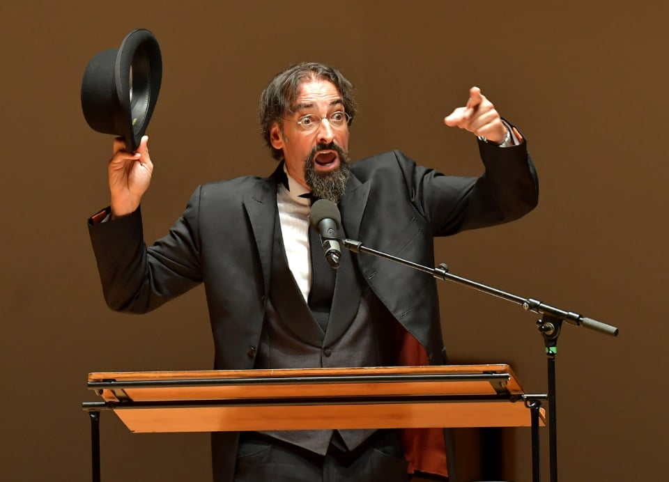 Actor Alistair McGowan performs in A Satie Cabaret at the Proms Chamber Music 3 at Cadogan Hall at the BBC Proms 2016Photograph: BBC/Chris Christodoulou