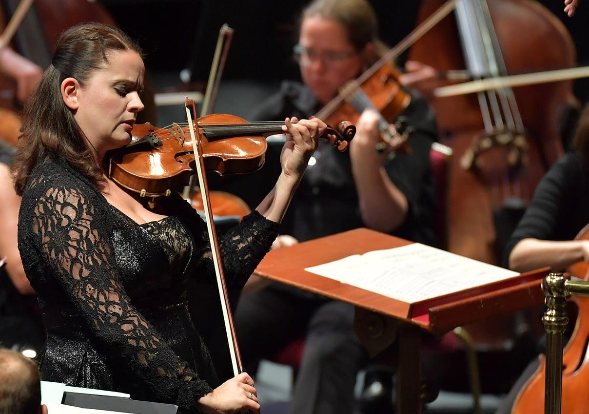 Violinist Baiba Skride performing Mozart's Violin Concerto No. 5 with conductor Simone Young and the BBC Symphony Orchestra at the BBC Proms on Wednesday 31 August 2016Photograph:  BBC/Chris Christodoulou