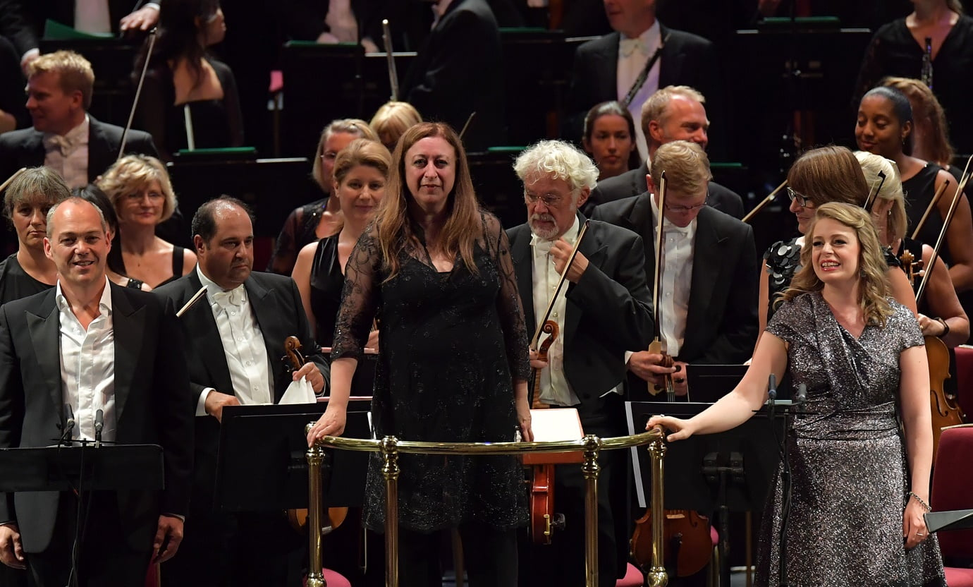 Baritone Christopher Maltman, conductor Simone Young and soprano Siobhan Stagg with the BBC Symphony Orchestra at the BBC Proms on Wednesday 31 August 2016Photograph:  BBC/Chris Christodoulou