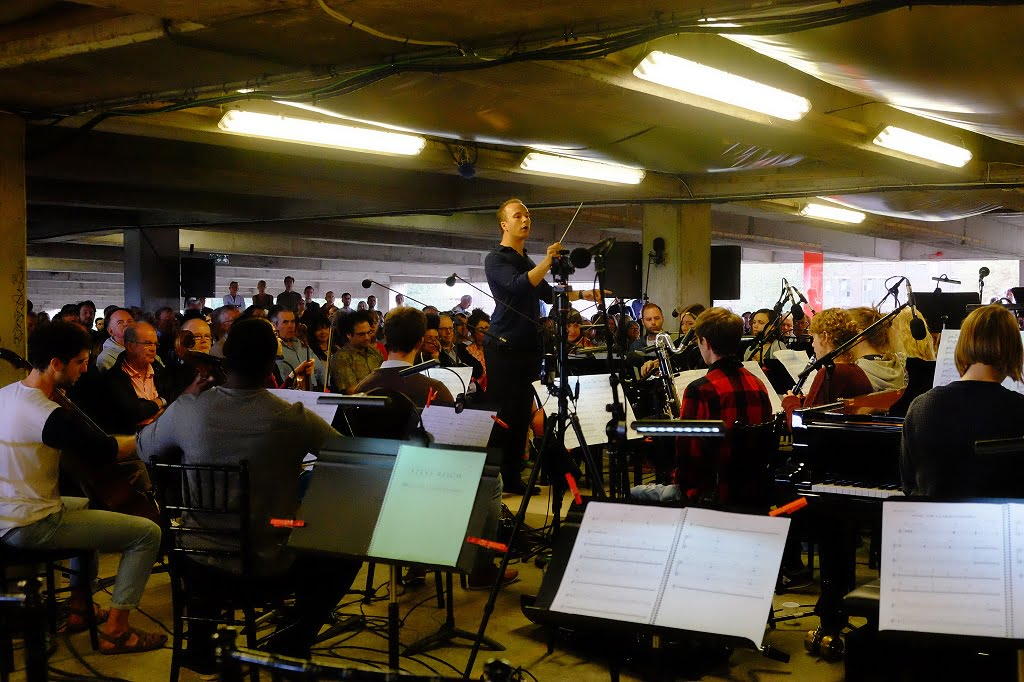 Christopher Stark conducts the Multi-Story Orchestra at the BBC Proms At…Bold Tendencies Multi-Storey Car Park in Peckham on Saturday 3 September 2016Photograph:  BBC/Mark Allan