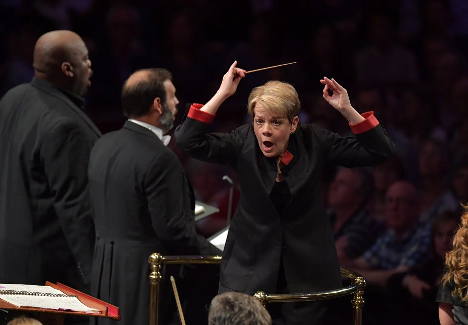 Marin Alsop conducts the Orchestra of the Age of Enlightenment and the BBC Proms Youth Choir in a performance of Verdi's Requiem at the BBC PromsPhotograph: BBC/Chris Christodoulou