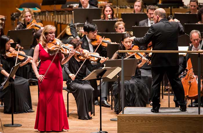 Cynthia Phelps with the New York Philharmonic conducted by Jaap van Zweden at Lincoln CenterPhotograph: Chris Lee