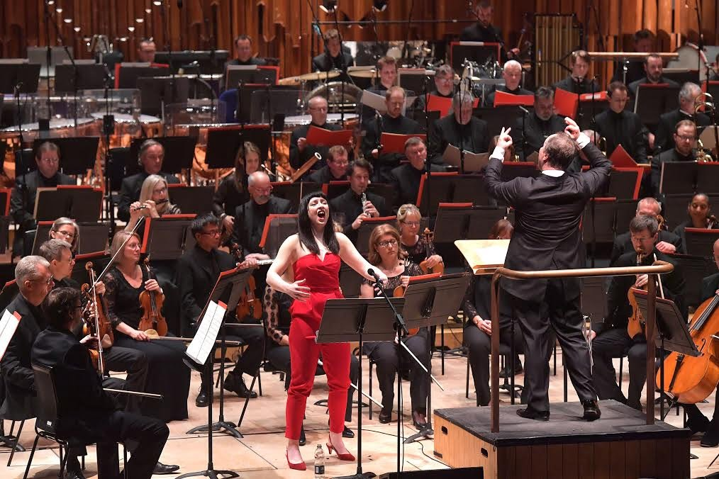 Soprano Allison Bell performs in Varèse's Nocturnal with the BBC Symphony Orchestra and BBC Singers, conducted by Sakari Oramo at the Barbican on Saturday 6 May Photograph: BBC/Mark Allan